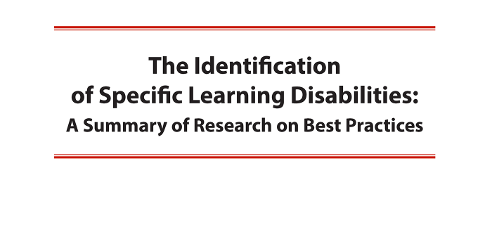 Identification of Specific Learning Disabilities Photo